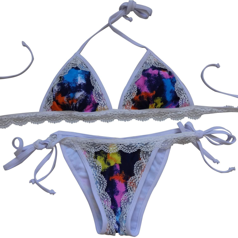 Europe The United States Fresh Sexy Lace Fashion Gradient Pattern Triangle Bag Bikini,Blue,S