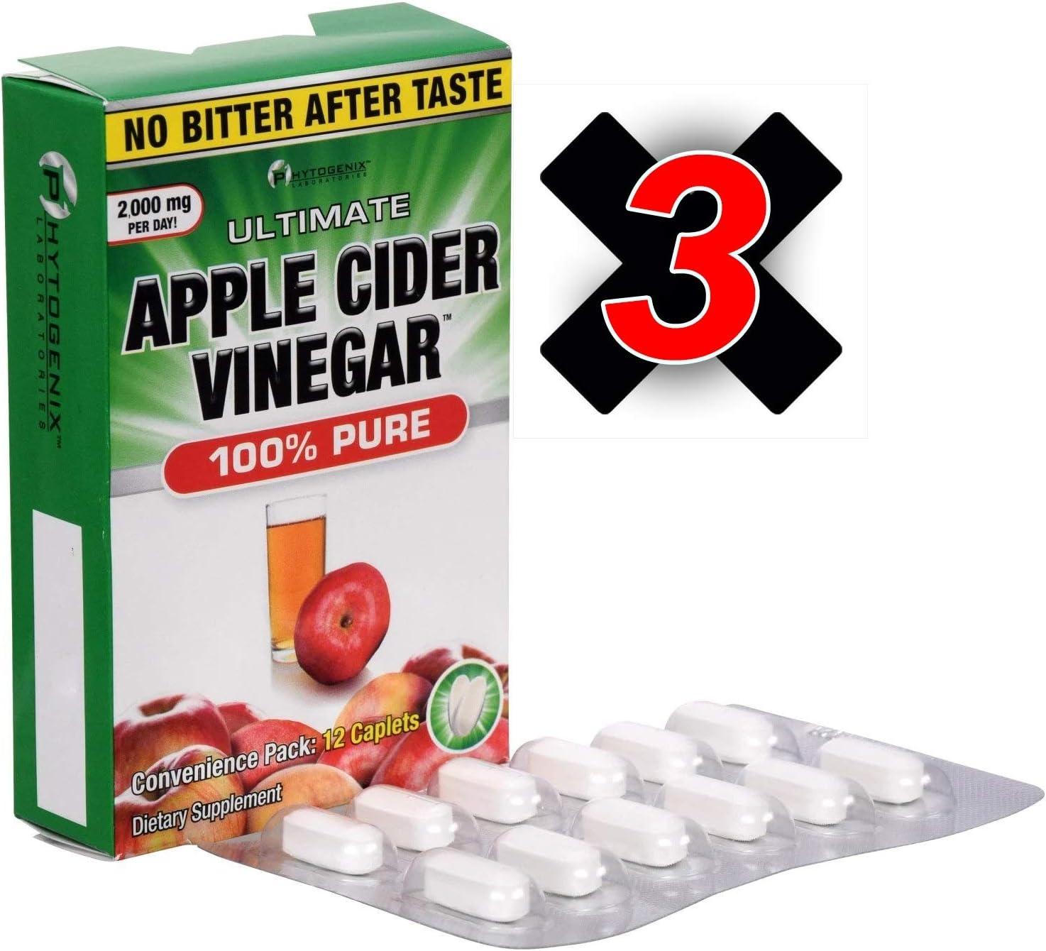 Phytogenix Laboratories Ultimate Apple Cider Vinegar Tablets, 12-ct.(Pack of 3)