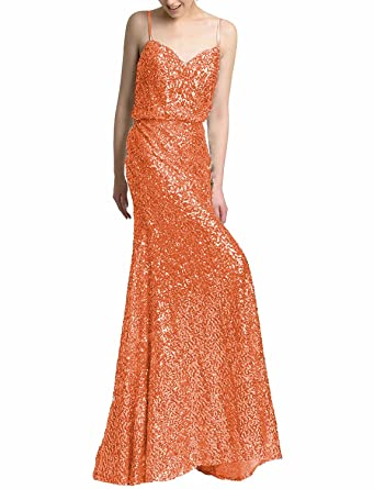 Monalia Womens Sparkly Sequins Spaghetti Prom Dresses 2018 Long Formal Gowns Size 2 Orange