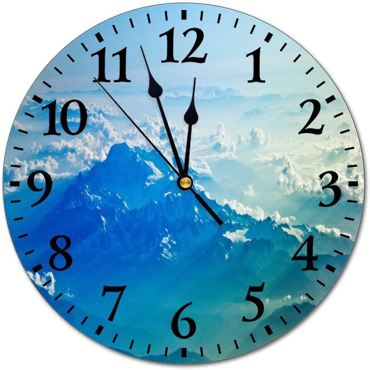 Promini Fashion PVC Wall Clock ICY Blue Mountain Range Silent Non-Ticking Wall Clock Custom PVC Clock, White-C8 25cm/9.84in