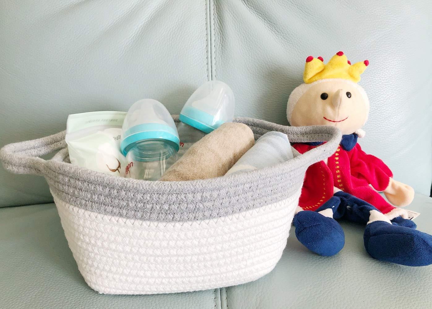 Home Decor-7.9 x 7.9 x 4 inches Snomy Small Woven Storage Basket-Square Cotton Rope Basket-Small Closet Storage Bins-Desk Basket Organizer for Baby Toys Pet Toys,Keys