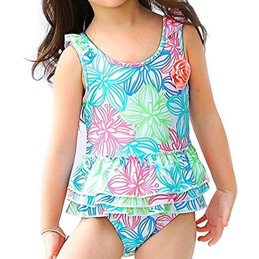 e96de297931f2 Amazon.com: Meeyocc One Piece Swimsuit for Girls Flowers Soft Beach Swim  Bathing Suit 7-8 Years Blue: Clothing