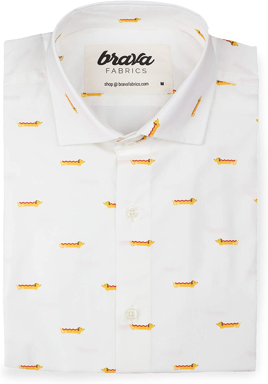 Brava Fabrics | Camisa Hombre Manga Larga Estampada | Camisa Blanca para Hombre | Camisa Casual Regular Fit | 100% Algodón | Modelo Dog Appetit | Talla 3XL: Amazon.es: Ropa y accesorios