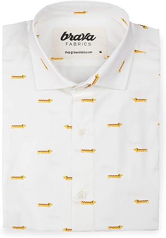 Brava Fabrics | Camisa Hombre Manga Larga Estampada | Camisa Blanca para Hombre | Camisa Casual Regular Fit | 100% Algodón | Modelo Dog Appetit