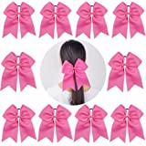 "Ncmama Girls 7"" Large Breast Cancer Awareness Glitter Cheer Bow Hair Tie Ponytail Holder for Women Cheerleader"
