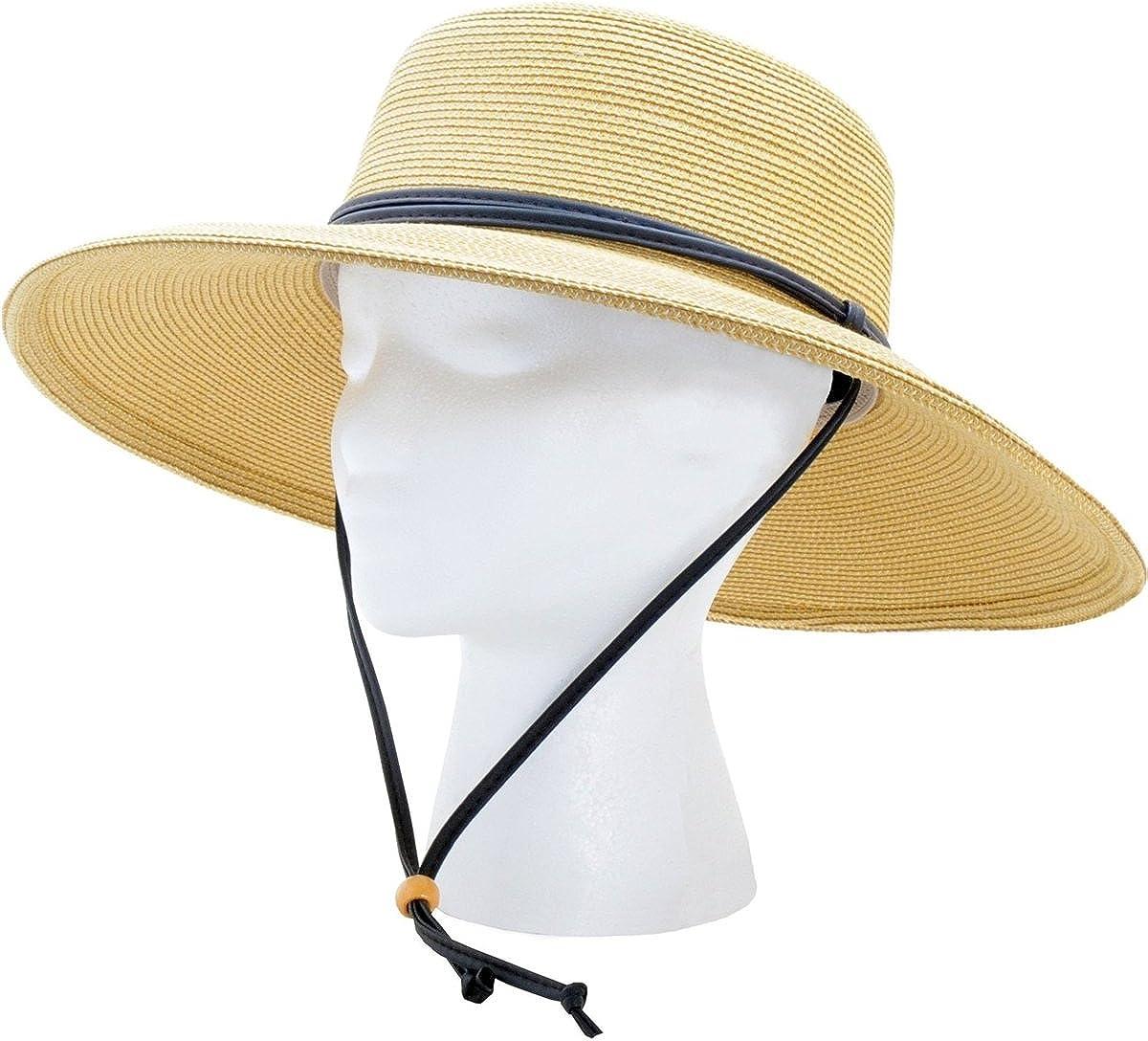 Sloggers Women's Wide Brim Braided UPF 50+ Hat (Light Brown)
