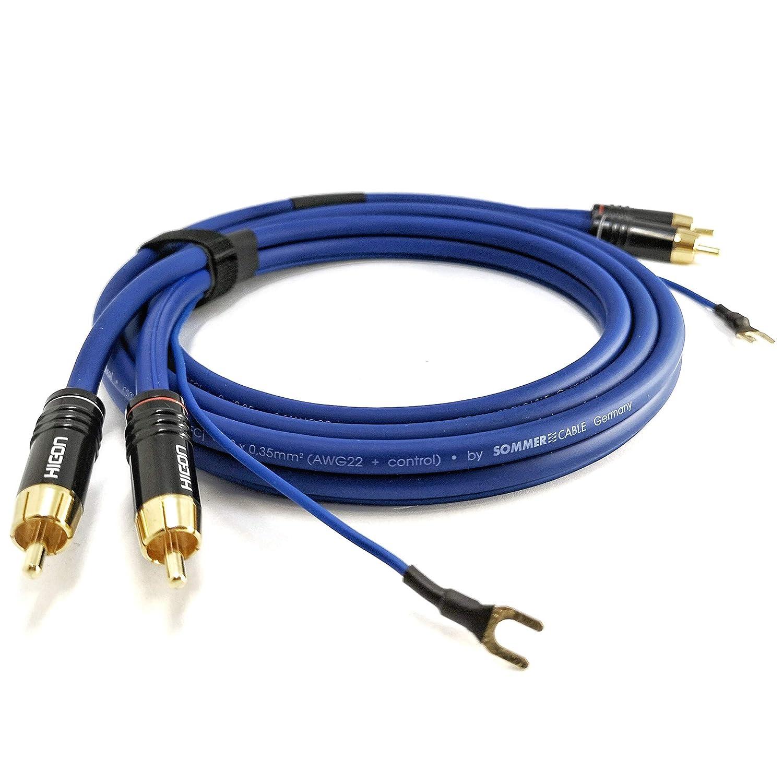 NF- Cable Phono 2,5m cable apantallado de señal de audio Sommer Cable 2x 0,35mm² más largo de tierra (2,6m) 1x 0,35mm² enchufe HICON CM06 enchapado en ...