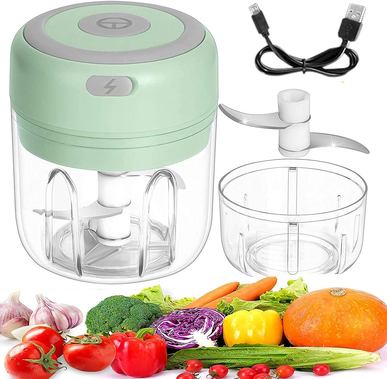 Electric Mini Garlic Chopper,Food Chopper Electric, Onion Chopper Vegetable Processor/Slicer, USB Portable Mini Mincer Blender Mixer for Chili Pepper Vegetable Nuts (green)