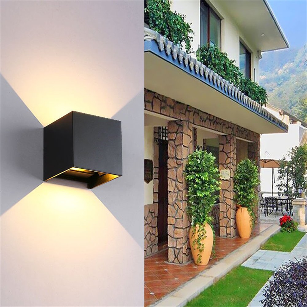 LED Aluminum Waterproof Wall Lamp ,12W 85-225V 6000K Adjustable Outdoor Wall Light Warm Light 2 LEDS (White)