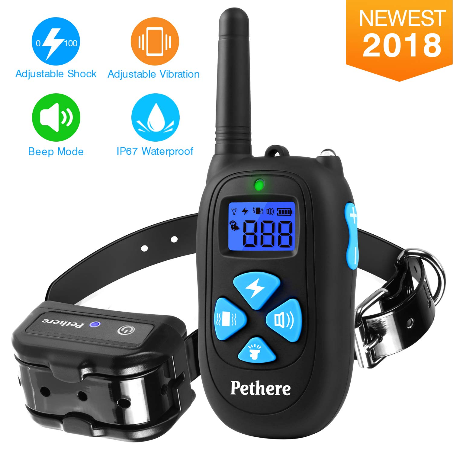 Pethere Dog Training Collar with Remote, IP67 Waterproof Rechargeable Pet Electric Shock Bark Collar with Beep, Vibration, Shock Modes for Small Medium Large Dogs