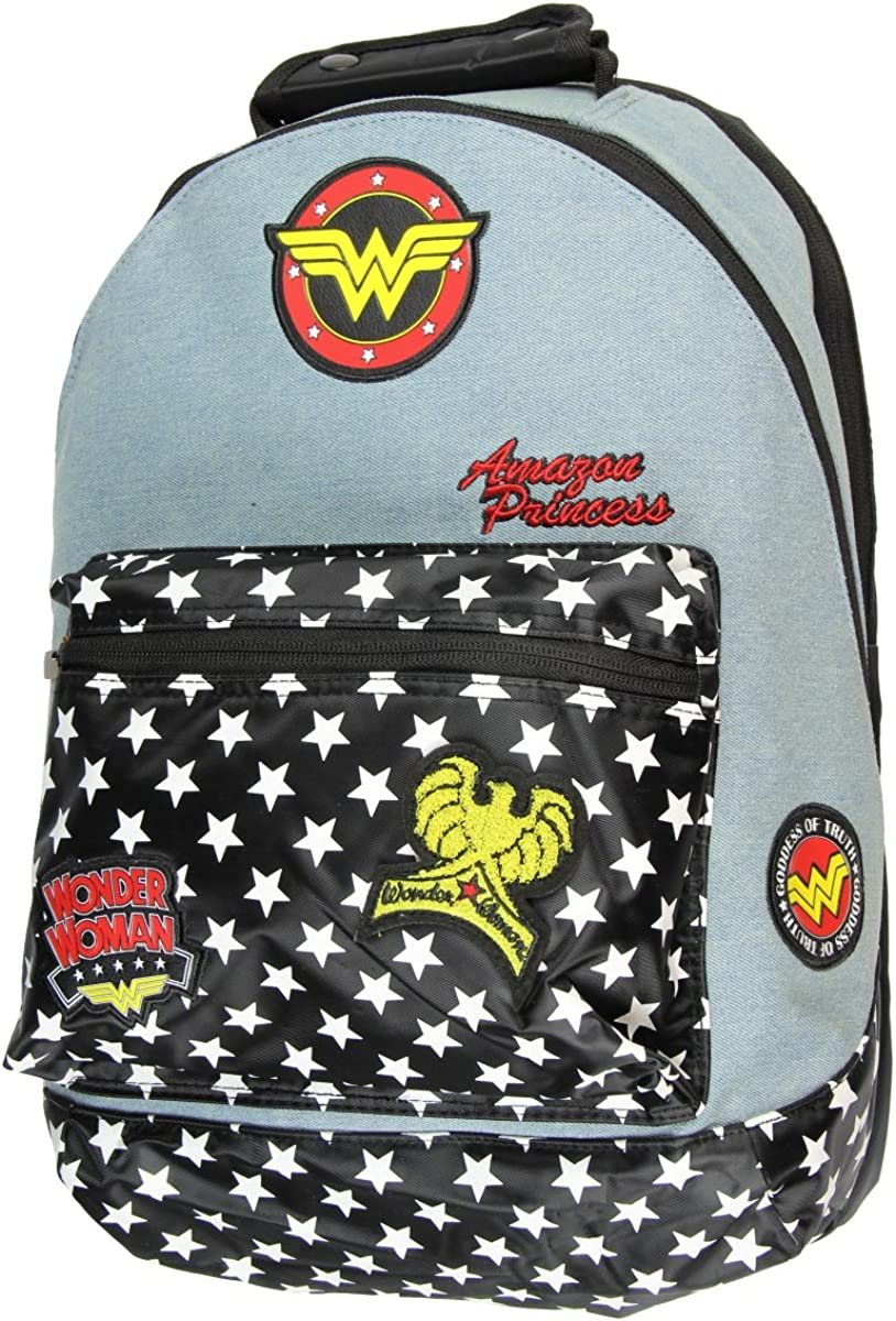 Official Wonder Woman Denim Backpack w/Patches Comic Book Superhero Goddess