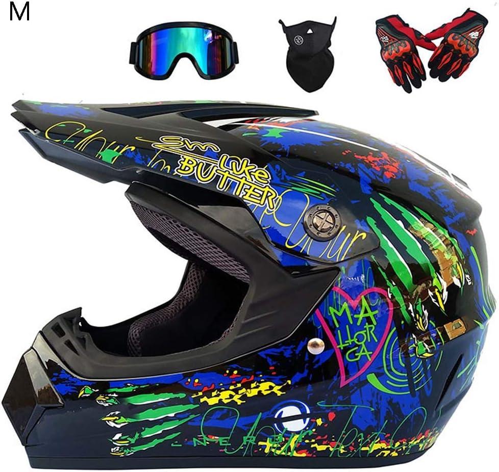 Full face Motocross Helmet with Code Gloves Mask Goggles 4 Piece Set Four Seasons Off-Road Racing Helmet for Adult Zebroau Motorcycle Helmet