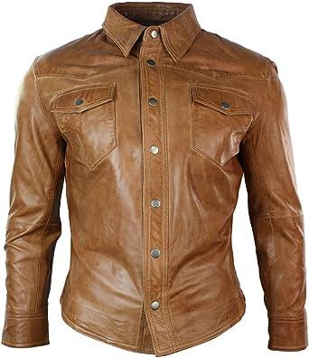 Infinity Hombre Real Chaqueta de Piel Negro Camisa de Piel marrón Retro Vintage diseño