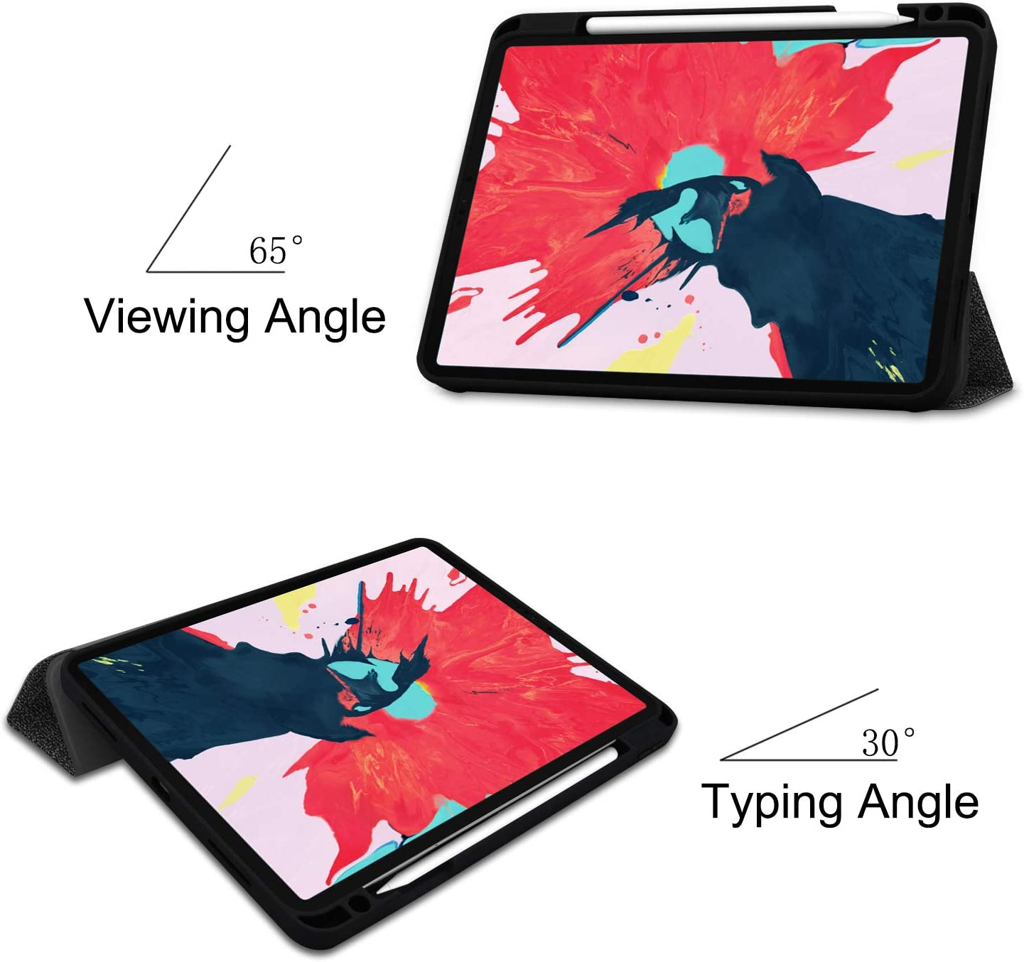 2nd Generation with Trifold Stand Auto Sleep//Wake,Lightweight Smart Magnetic Cover with Pencil Holder Support Apple Pencil Charging ,Black Ostop Slim Case Compatible with iPad Pro 11 inch 2020