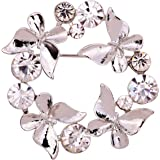 YAZILIND Jewellery Gift Silver Plated Glaring Crystal Pretty Butterfly Brooches and Pins Vintage for Women Girls