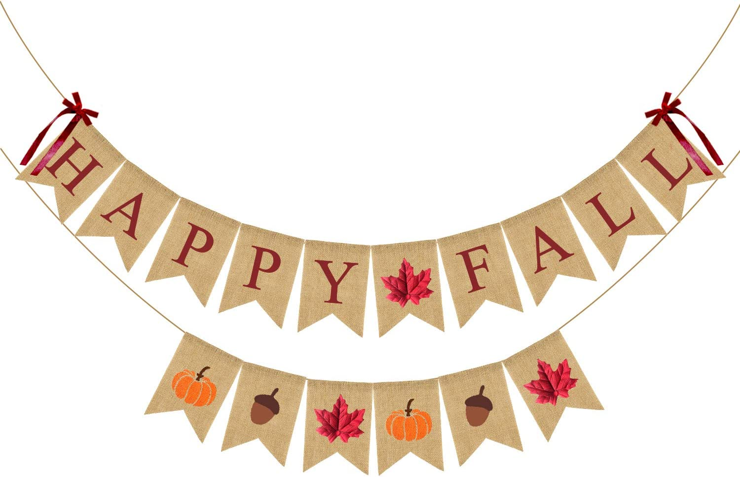 Happy Fall Banner Decorations,2 Pack Thanksgiving Fall Pumpkins Maple Leaves Acorn Burlap Banner Decor for Autumn Party Home,Farmhouse,Fireplace,Office,etc.