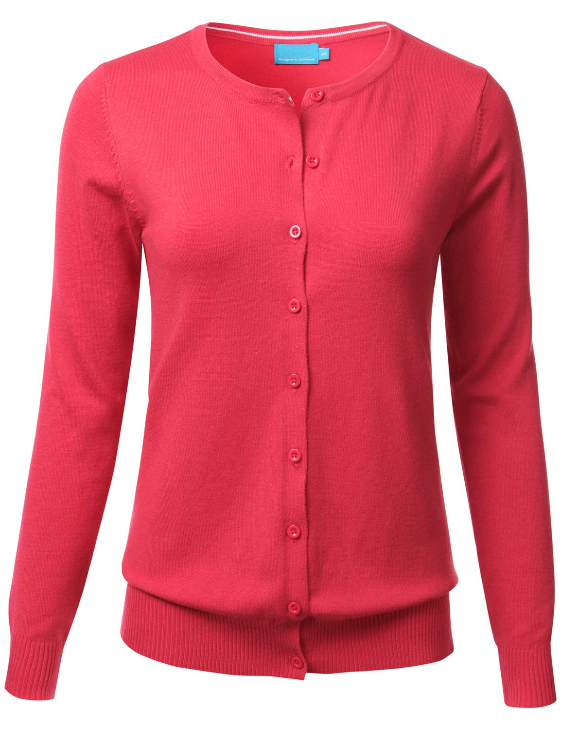 a77e3fd5a5355 Galleon - FLORIA Women Button Down Crew Neck Long Sleeve Soft Knit Cardigan  Sweater Coral 1XL