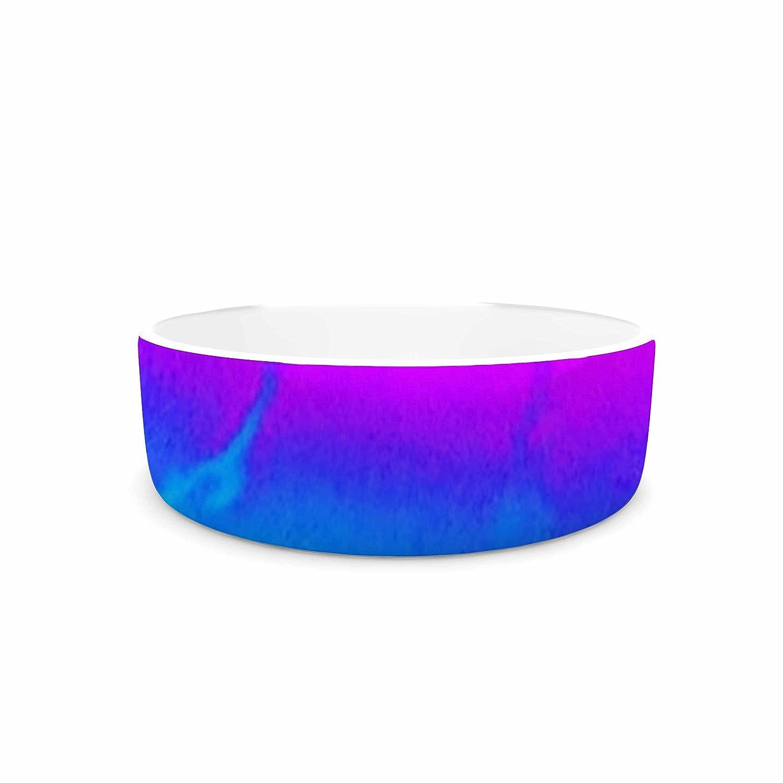 KESS InHouse Liz Perez Indigo Soul Pastel Multicolor Digital Pet Bowl, 7  Diameter