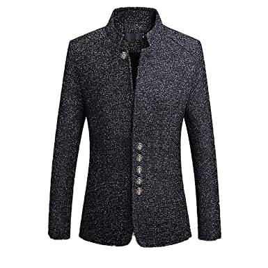 e430072c11f9 Solid Casual Men Blazers Long Sleeve Stand Collar Button Jacket Coat Black M