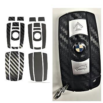 Pegatina para llavero BMW de fibra de carbono 3D negro mate para BMW series 1, 2, 3 E60, E70, E71, E80, E87, E89, E90, E91, E92, E93, M, Z4, X, X5, X6 ...