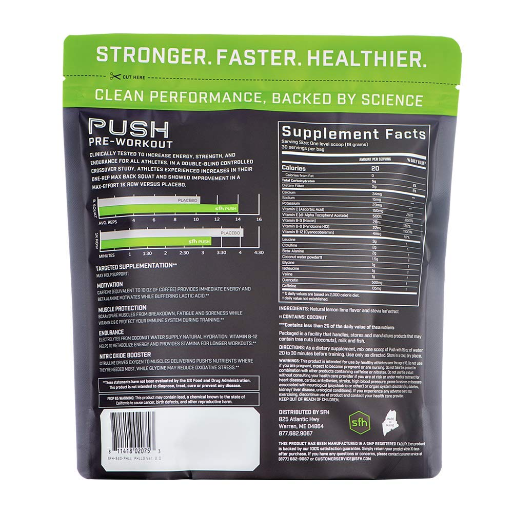 Push Pre-Workout Powder (Fruit Punch) by SFH | Best Tasting 5g BCAA's for Muscle Repair | Non-Dairy, No Artificial Flavors, Colors, or Sweeteners (Bag) by SFH (Image #2)