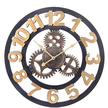 ZHANG Antiguo De madera Reloj de engranaje Viento industrial reloj de pared Sala pared Leñoso Decoración Reloj de bolsillo Hacer viejo Tridimensional ...