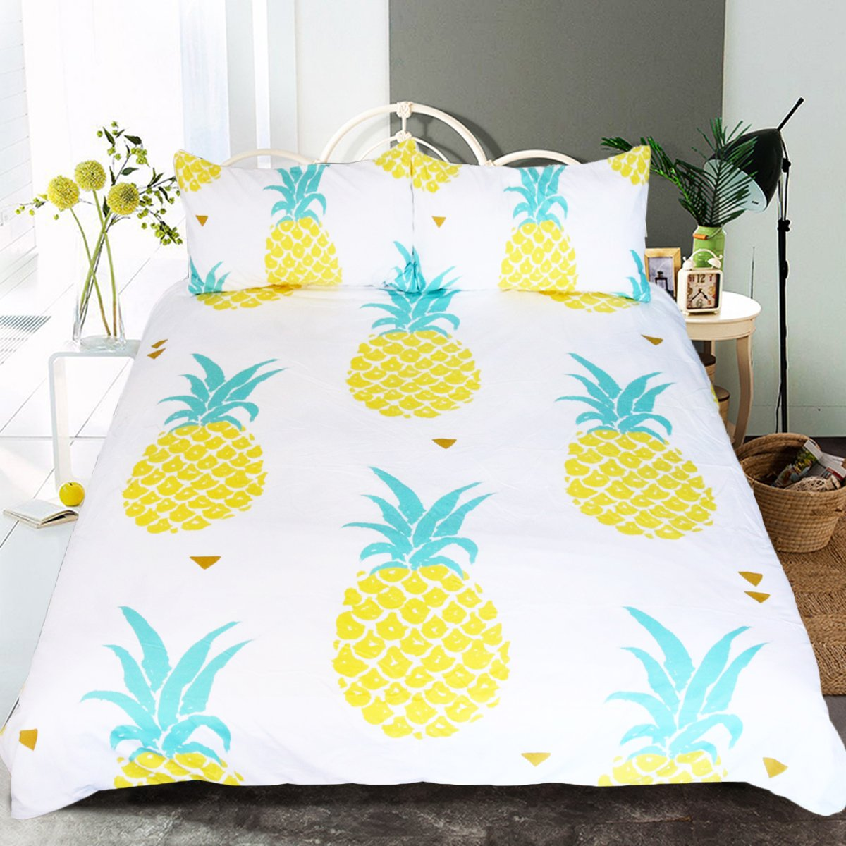 Adults Sleepwish Piece for ツイン Tropical Bedding 3 Duvet Boys Set (Twin) Duvet Kawaii Cover (Twin) Hawaiian Print Pineapple B073VDWQ5T Pattern Girls Cover Pineapple ツイン