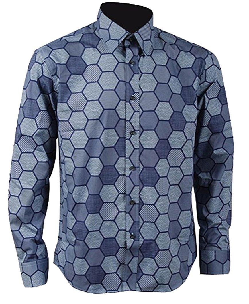 Mens Hexagon Shirt Knight Joker Shirt Cosplay Costume (L, Blue)