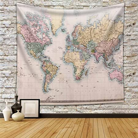Educational Colorful World Map Wall Tapestry Hanging - Polyester Fabric  Wall Art Tapestries Home Decor Tapestry 59x90 inch