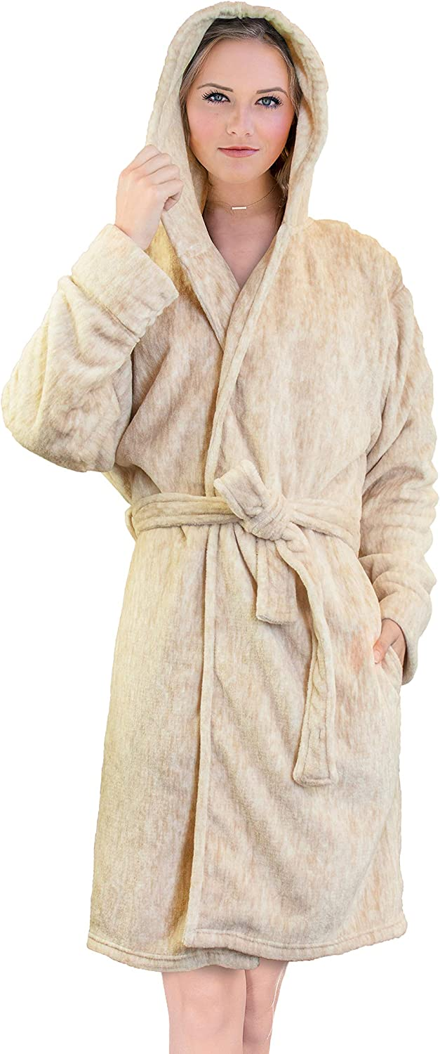 Womens Fleece Hooded Short Robe Ladies Warm Lounge Bath Dressing Bath Jacket