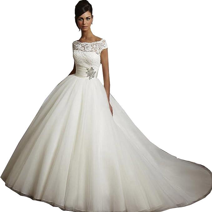dressvip - Vestido de novia - trapecio - Manga Larga - Mujer blanco blanco 32