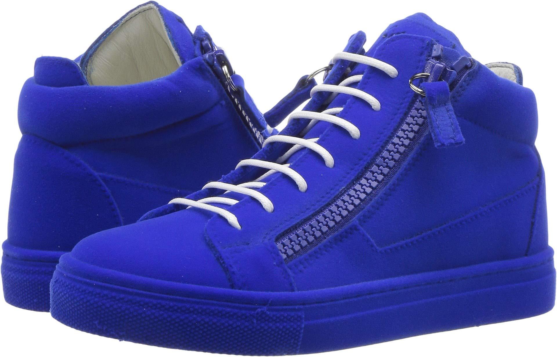 Giuseppe Zanotti Kids Unisex Flock Sneaker (Toddler/Little Kid) Electric Blue 30 M EU M