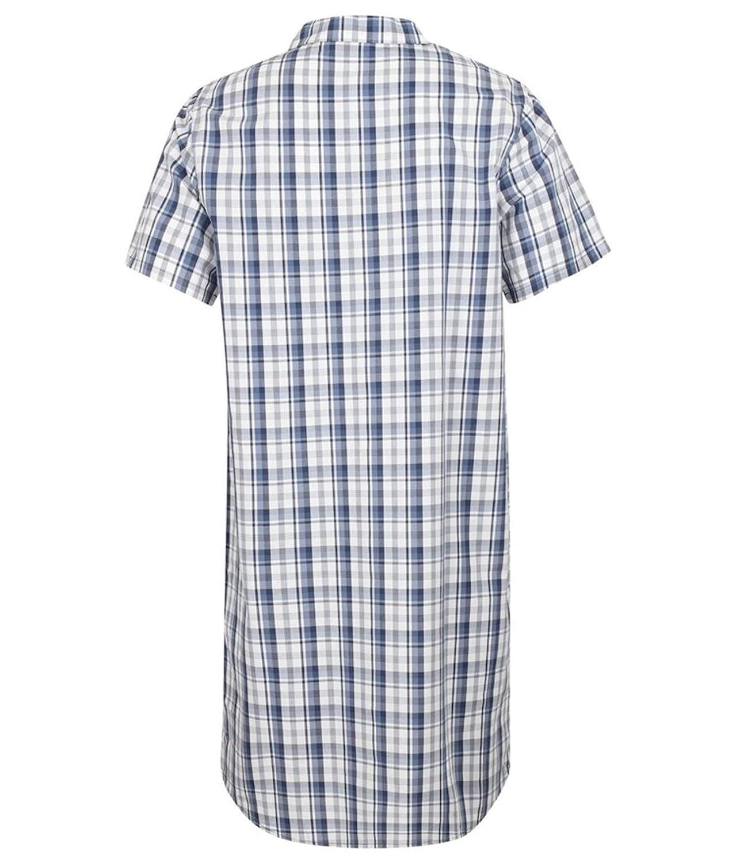 Blue Walker Reid Mens Check Nightshirt 100/% Cotton Button Through Traditional Nightwear