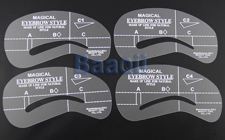 Eyebrow Stencils Templates Shaper 4 Different Designs/Shapes: Amazon ...