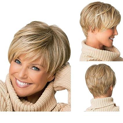 Tonake 0081 -Peluca de pelo corto rubio ligeramente ondulado resistente al calor para
