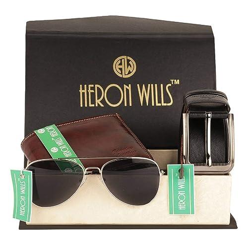 Heron Wills Mens Leather Combo Of Belt Wallet Sunglass MulticolorFree