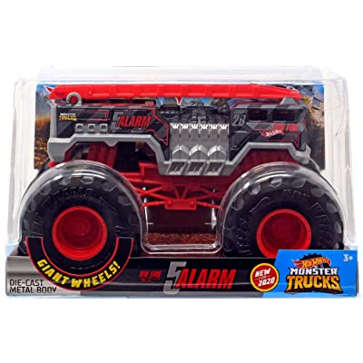Hot Wheets Monster Trucks 1:24 Scale 5 Alarm, Black with red Ladder: Toys & Games