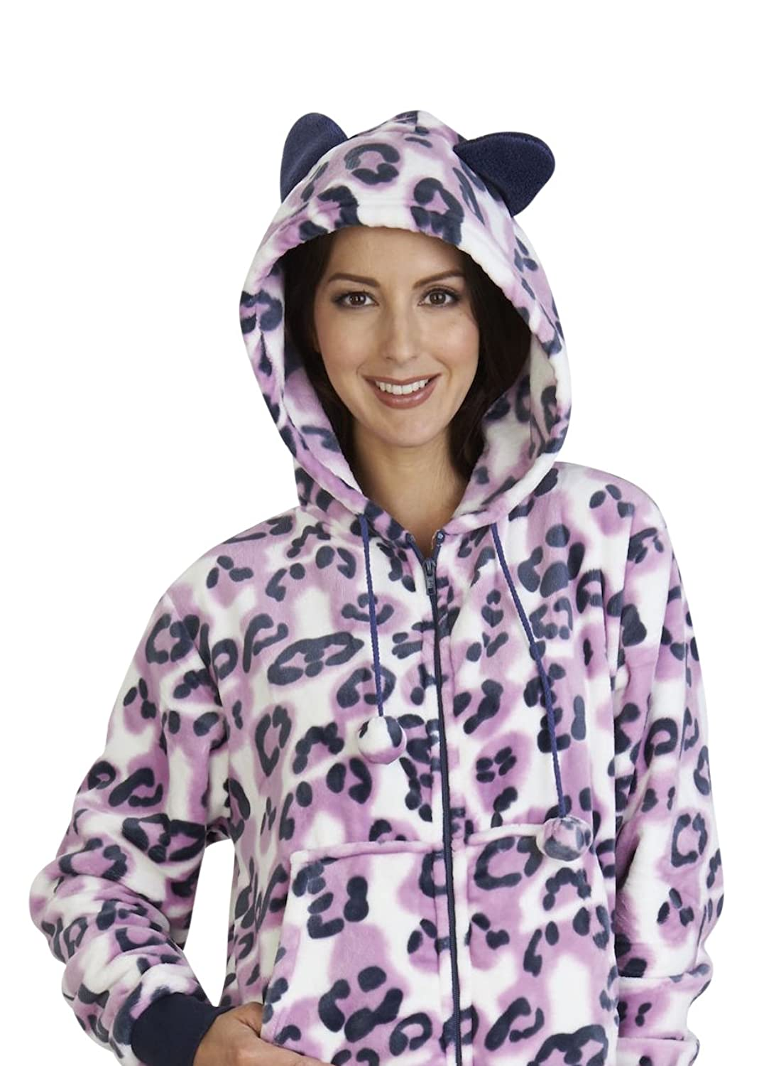 Slenderella Pyjamas Luxury Flannel Fleece Hooded Animal Leopard PJ 10 12 14 16 18 20 22