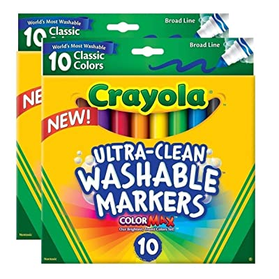 Crayola Ultraclean Broadline Classic Washable Markers (10 Count), (Pack of 2): Toys & Games