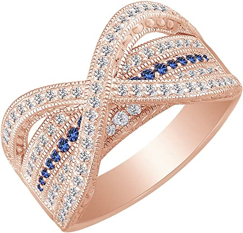 AFFY Simulated Blue Sapphire /& Round White Cubic Zirconia Wedding Band Ring 925 Sterling Silver