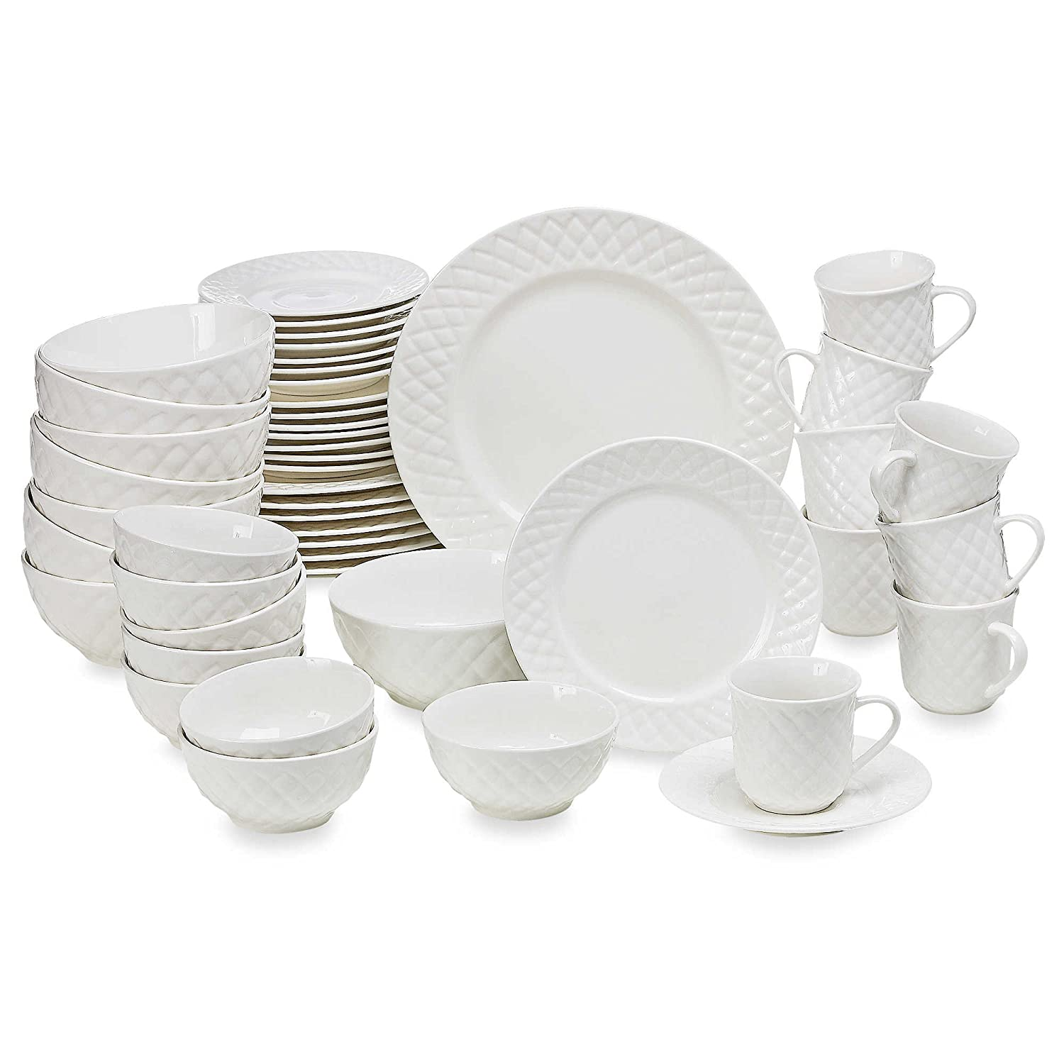 amazoncom gibson home antique quilt 48piece dinnerware set dinnerware sets