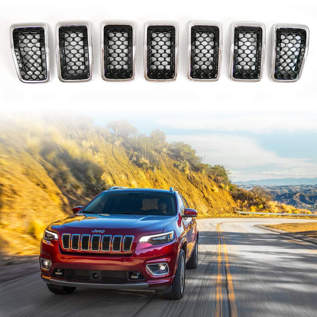 XBEEK 7PC Front Grill Mesh Honeycomb Insert Chrome Ring Grille Inserts for 2019-2020 Jeep Cherokee