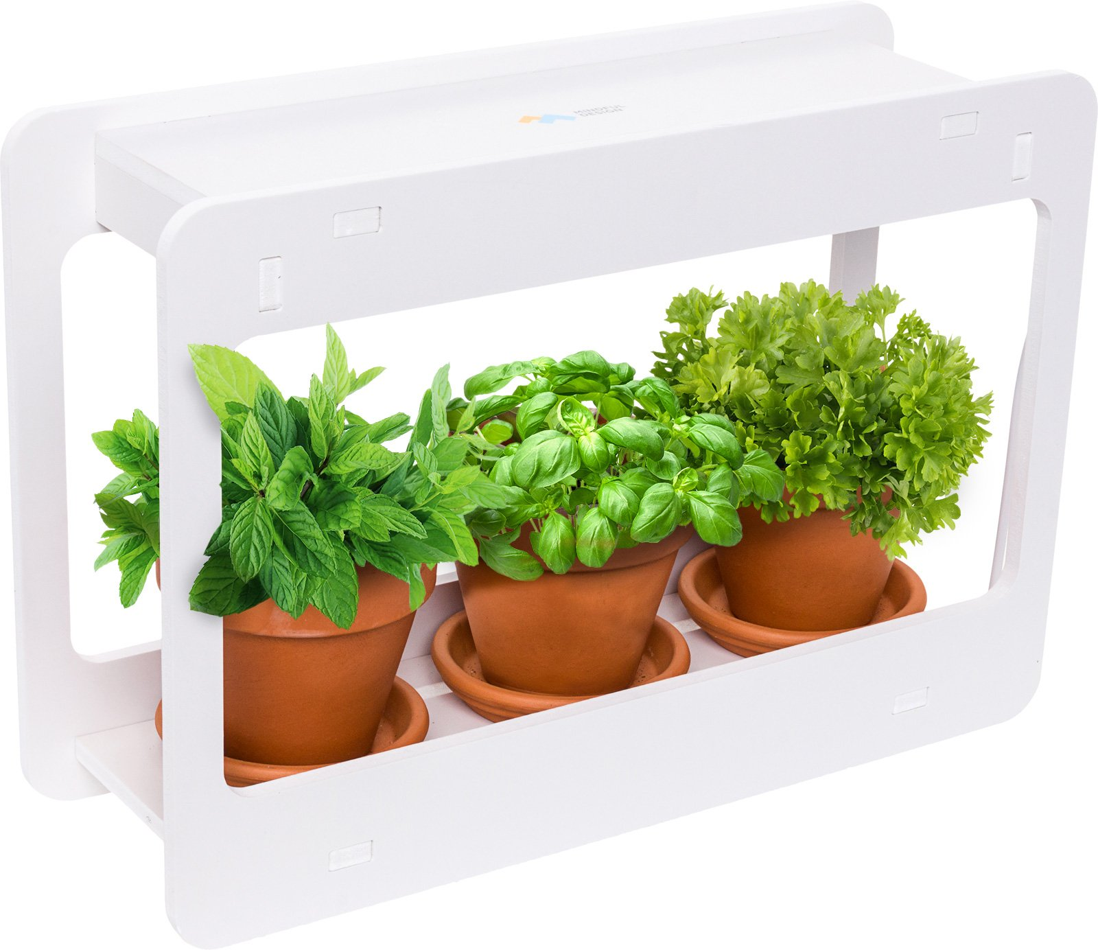 Mindful Design LED Indoor Herb Garden - at Home Mini Window Planter Kit for Herbs, Succulents, and Vegetables (White)