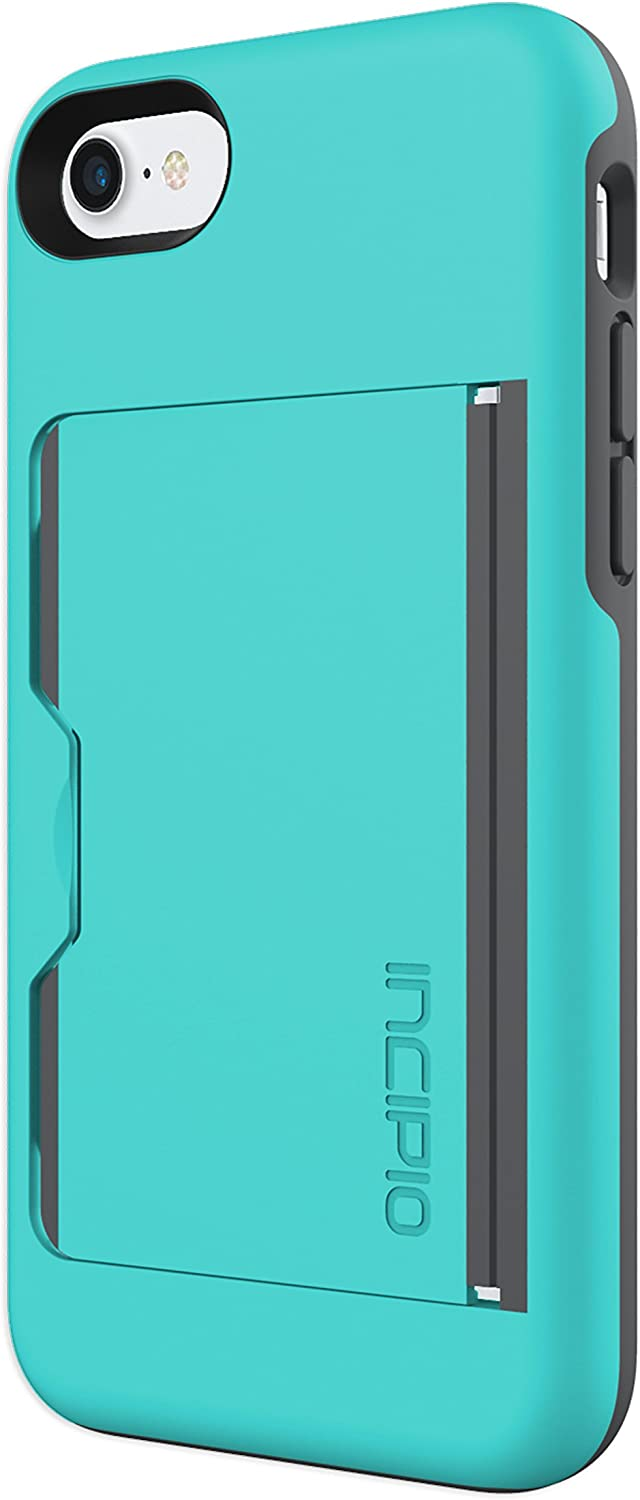 Incipio Stowaway iPhone 8 & iPhone 7 Case with Credit Card Slot Holder and Integrated Stand for iPhone 8 & iPhone 7 - Turquoise/Charcoal