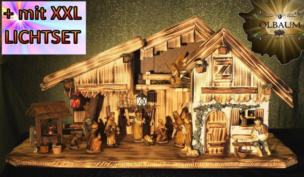 Krippenstall Krippenstall Krippenstall KA70-ng-MFHO-ALP Weihnachtskrippen Ölbaum,Massivholz edel GEFLAMMT - mit großen 13 x PREMIUM-Krippenfiguren in Echtholz-Optik GEBEIZT beige-braun + Engel - krippen mit Beleuchtung 706d58