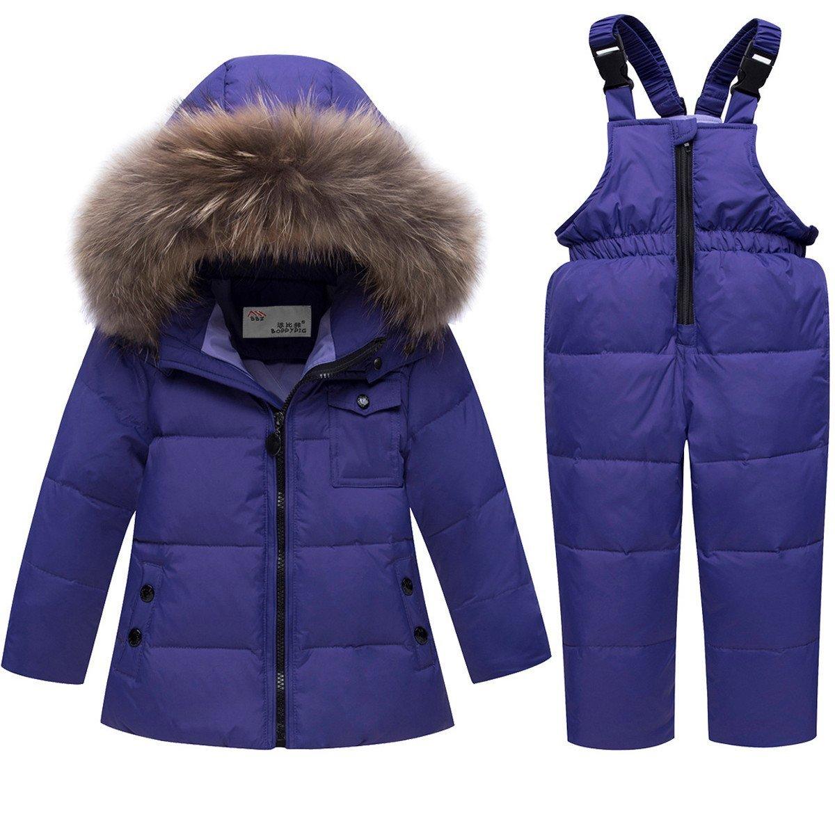 JELEUON Baby Girls and Boys Winter Warm Hooded Fur Trim Zipper Snowsuit Puffer Down Jacket with Snow Ski Bib Pants 4-5 Years by JELEUON