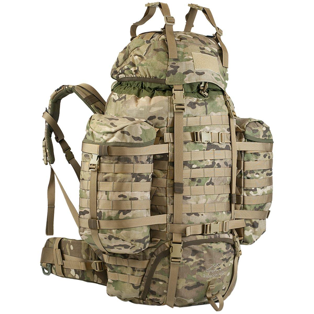 Multicam US Sac à dos Militaire Wisport Raccoon 65Litres, Cordura, MOLLE, Survie, Sport, Plein air, Camping, Randonnée, Scoutisme, Trekking