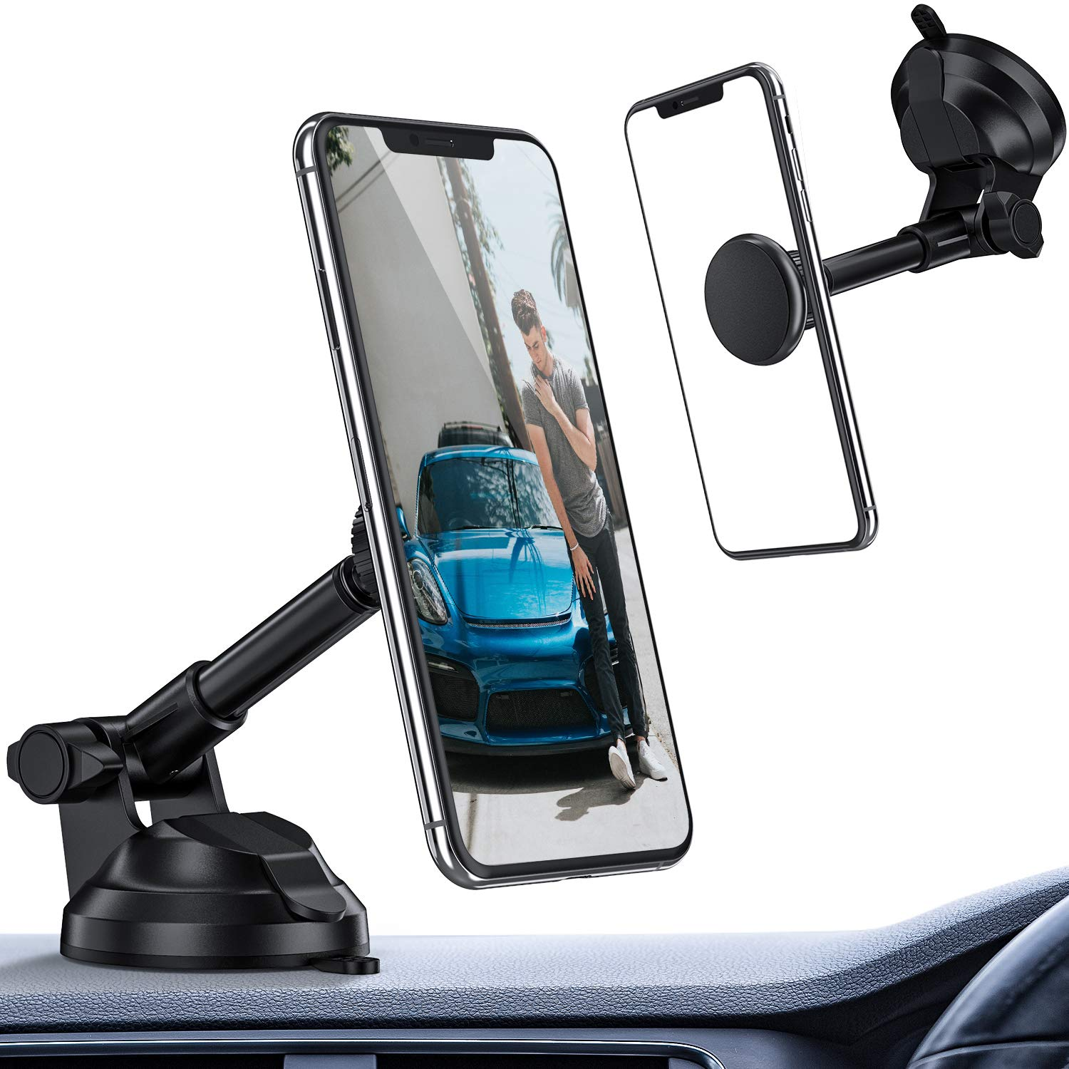 ORIbox Car Phone Mount, Magnetic Phone Car Mount, Strength Suction Cup Car Phone Mount Holder with Adjustable Telescopic Arm, Compatible with iPhone Samsung Galaxy