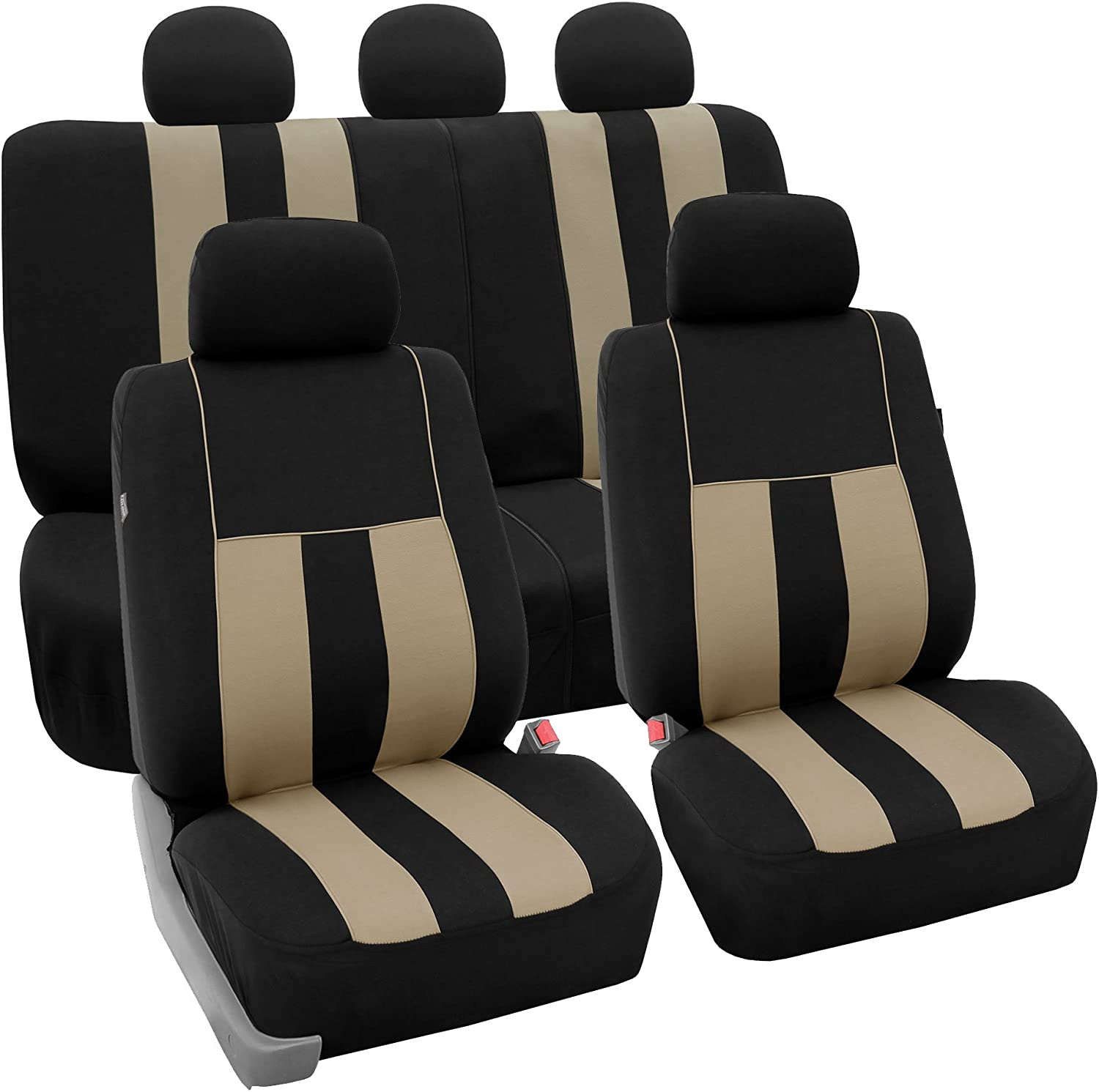 FH Group FB036BEIGE115 Seat Cover (Airbag Compatible and Split Bench Beige)