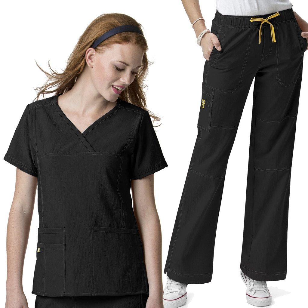 WonderWink Women's Scrubs 4 Way Stretch Y-Neck Multi-Pokcet Top & Cargo Pant Set Socks
